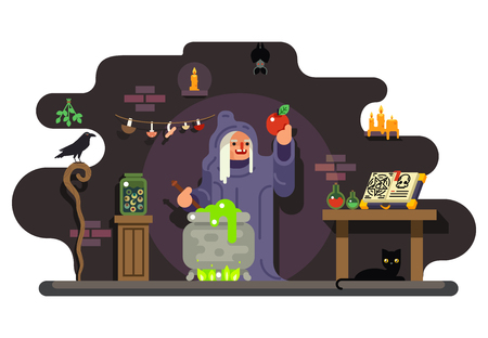 wicked set: Witch cook magical sweet apple laboratory icons background flat design vector illustration