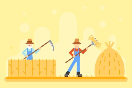 harvestman: Autumn peasant harvestman harvest Icon Village Hills Field Landscape Background Flat Design Vector Illustration