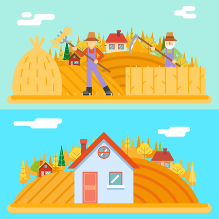 croft: Autumn peasant harvestman harvest Icon Village Hills Field Landscape Background Flat Design Vector Illustration