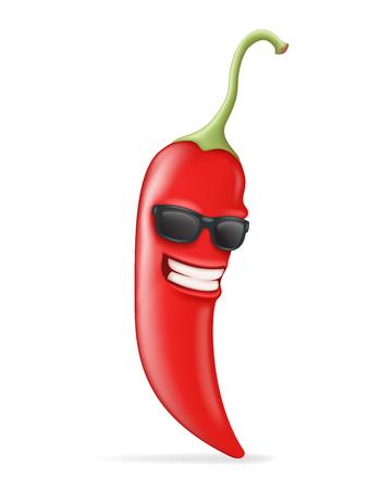 Carácter fresco Hot Chili Pepper gafas de sol Diseño feliz realista de la ilustración del vector