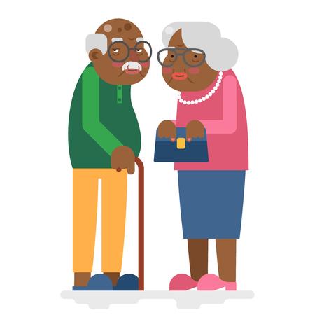 Antigua familia abuelo adulto africano y la abuela plana Ilustración del vector del diseño