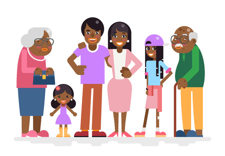 adoptive: African Family Characters Child Teen Adult Icon Flat Design Vector Illustration