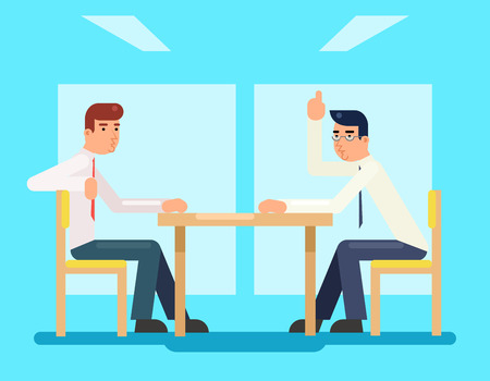 discussing: Businessmen discussing and strategy flat design characters vector illustration