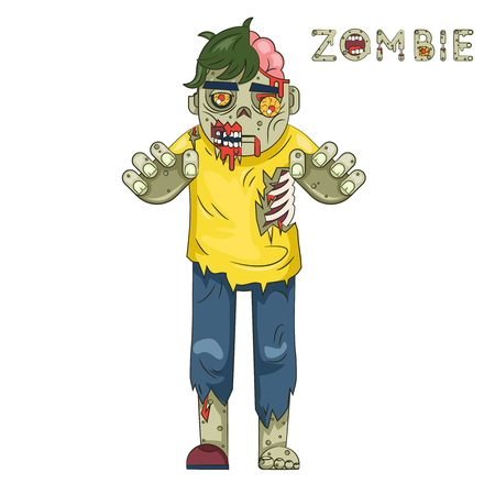 Halloween Party Zombie Rol Character Bust Pictogrammen stijlvolle achtergrond Flat Design Template Greeting Vector Illustration