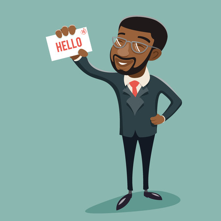 presentation: African Businessman Character Presentation Demonstration Call Card Greeting Banking Vintage Hand Icon Stylish Background Retro Cartoon Design Vector Illustration
