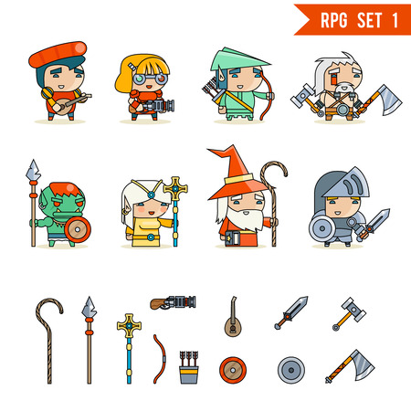 rpg: RPG Game Fantasy and Character Vector Icons Set Vector Illustration