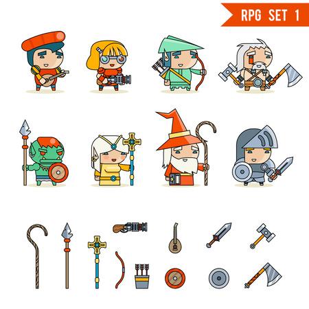 RPG Game Fantasy en Karakter Vector Icons Set Vector Illustration