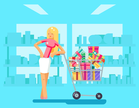 ilustración del carácter de diseño vectorial tienda de regalos carrito de compra Compras de la muchacha