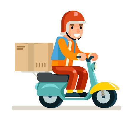 Consegna corriere scooter simbolo scatola concetto isolato disegno piatto illustrazione vettoriale Vettoriali