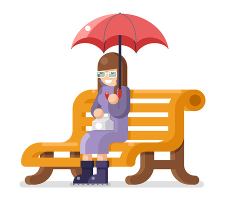lonely person: Girl sit bench and umbrella autumn flat design isolated template vector illustration