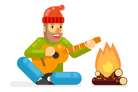 sings: Traveler Sings Plays Guitar Campfire Flat and Design isolated Template Vector Illustration Illustration