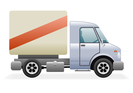 commercial vehicle: Retro Light Commercial Vehicle Pickup Truck Car Icon Isolated Realistic Design Vector Illustration Illustration