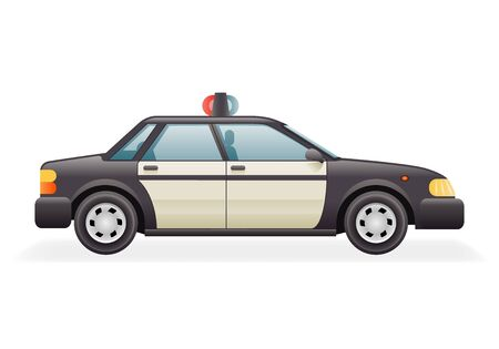 highway patrol: Retro Police Car Icon Isolated Realistic Design Vector Illustration