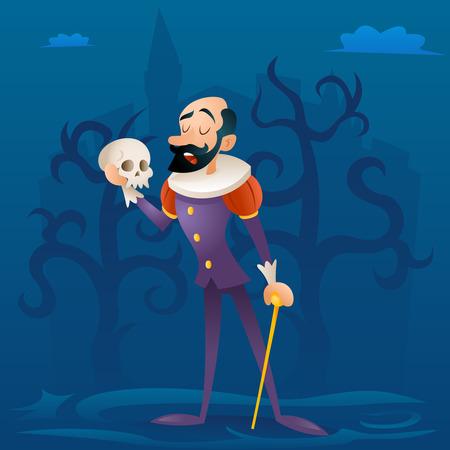 Hombre escenario del teatro juego medieval actor trágico personaje ilustración vectorial de dibujos animados retro