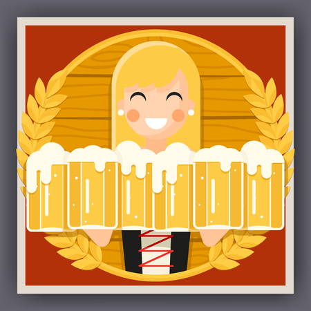 bartenders: Girl Beer Mug Oktoberfest Poster Festival Celebration Symbol Flat Design Vector Illustration