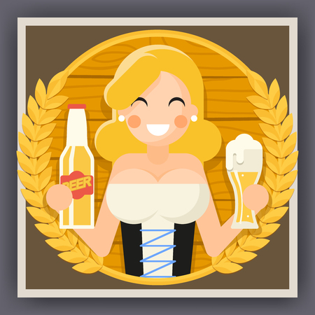 bartenders: Oktoberfest Poster Girl Beer Festival Celebration Symbol Flat Design Vector Illustration Illustration