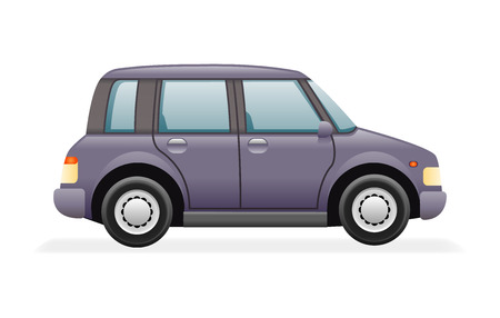 automobile: Retro Family Minivan Car Icon Isolated Realistic Design Vector Illustration