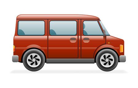 Retro Van Car Icon Isolated Realistic Design Vector Illustration Vektorové ilustrace
