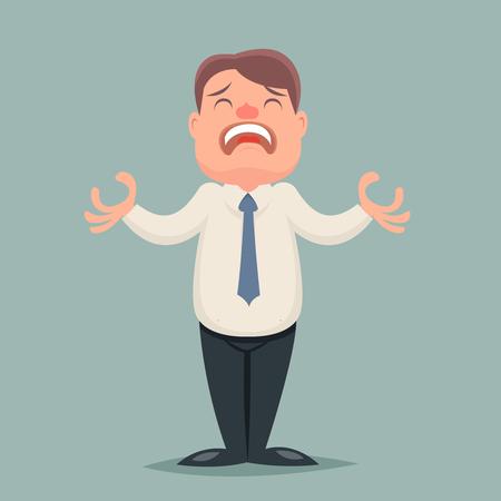 suffer: Despair Suffer Grief Businessman Emotion Character Icon Retro Cartoon Vector Illustration