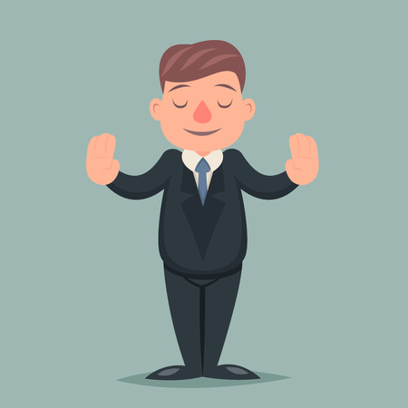 calm down: Calm Down Peace Businessman Pacify Emotion Character Icon Retro Cartoon Vector Illustration