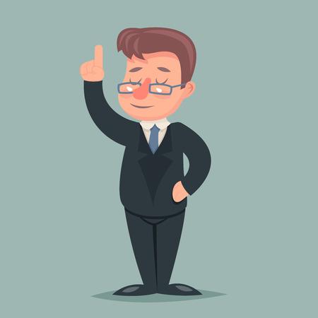 businessman suit: Pointing up Finger Businessman Idea Solution Advice Character Icon Retro Cartoon Vector Illustration Illustration