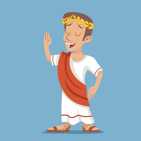 Griega de época romana retro de la historieta del hombre de negocios icono del carácter del fondo del diseño con estilo Ilustración