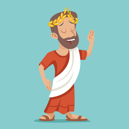 Greek Roman Retro Vintage Businessman Cartoon Character Icon Stylish Background Design Illustration 일러스트