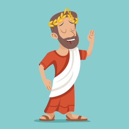 Greek Roman Retro Vintage Businessman Cartoon Character Icon Stylish Background Design Illustration Vettoriali