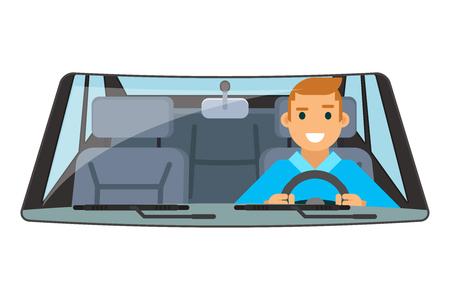 Vehículo conductor interior paseo de la rueda que conduce el coche aislado ilustración plana
