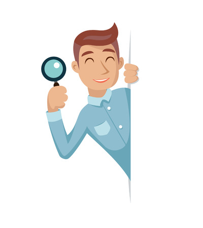 help symbol: Search Help Looking Out Corner Cartoon Businessman Character Icon Magnifying Glass Symbol Retro Vintage Illustration