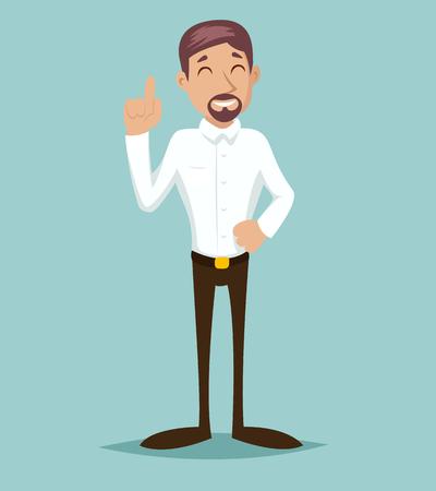 office man: Support Idea Cartoon Businessman Character Solution Symbol Retro Vintage Design Illustration