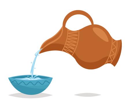 水を注ぐ飲み物水差しボウル レトロなヴィンテージ漫画アイコン イラスト