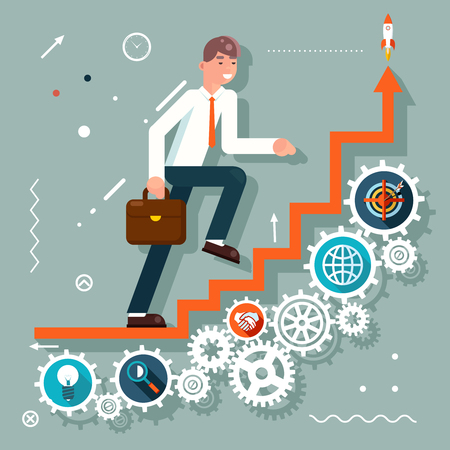 Infographic Ladder Stairs Businessman Goes Success Symbol Gears icons Flat Design Illustration Vectores