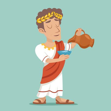 pour: Pour drink jug bowl Roman Greek Retro Vintage Businessman Character Icon Water Design Illustration Illustration
