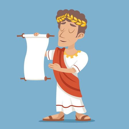 toga: Declaración de desplazamiento romana griega retro del icono del carácter del hombre de negocios de dibujos animados de fondo del diseño con estilo Ilustración Vectores