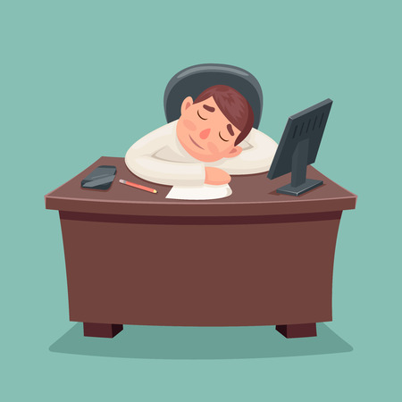 fell: Sleep businessman tired fell asleep on the desktop cartoon design illustration
