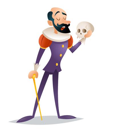 Tragische acteur theater podium mens middeleeuws kostuum retro karakter geïsoleerd ontwerp illustratie Vector Illustratie