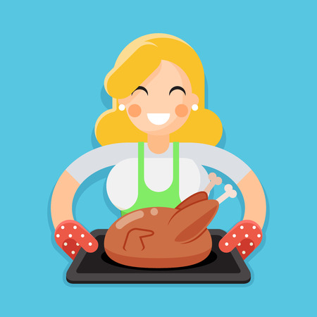hotter: Fried chicken turkey housewife baking character flat design illustration Illustration
