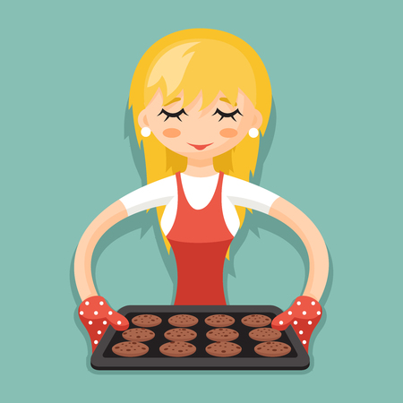 hotter: Housewife with baking cookies cartoon character design illustration