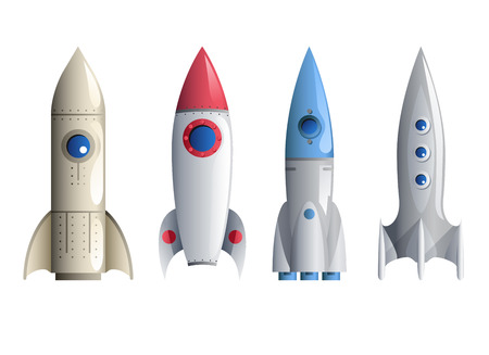 Rocket Symbol Icons and Set Isolated Realistic Template Illustration Illustration
