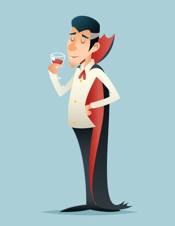 savor: Vampire Gentleman Halloween Savor Drink Glass Blood Icon Retro Vintage Cartoon Design Illustration Illustration