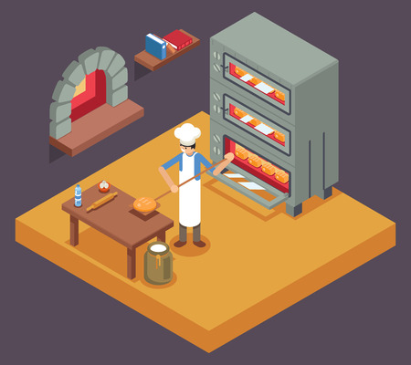 Cook baker cooking bread isometric icon bakery background flat design illustration