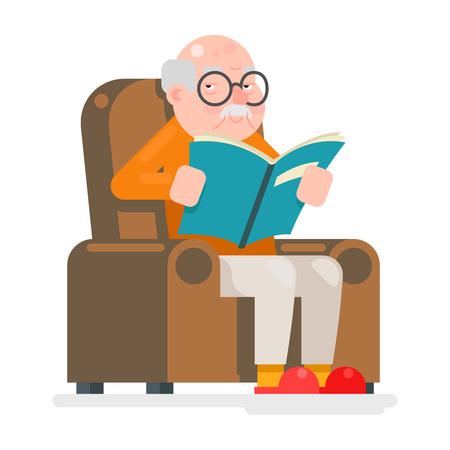 Old Man Characters Lire président Livre Sit adulte Icône Illustration plat
