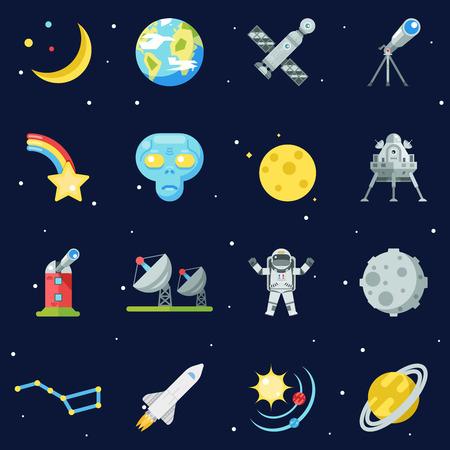 stabilizer: Space Symbol Innovation Technology Flat Design Set Template Illustration Illustration