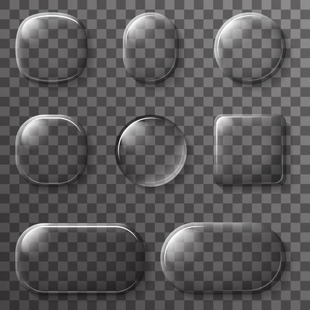 ui: Glass App UI Buttons Icons Transparent Elements Illustration