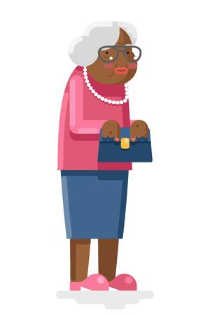 Grandmother Old and African Adult Flat Design Illustration