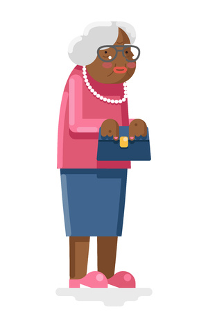 happy african: Grandmother Old and African Adult Flat Design Illustration