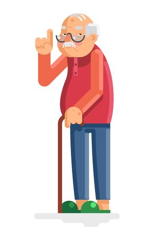 anciano: El viejo y el abuelo adulto plana Diseño Vectores