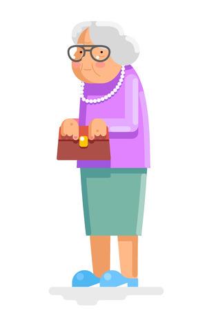 Grandmother Old and Adult Flat Design Illustration
