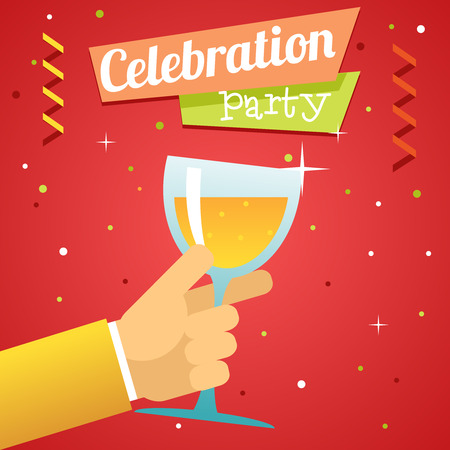 pledge: Toast Pledge Celebration Success Prosperity Symbol Hand Hold Glass Drink Flat Design Template
